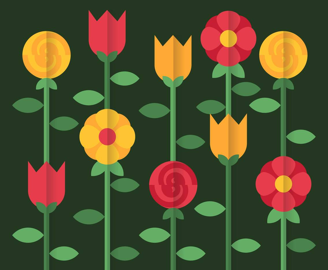 Flower Background Flat Illustration Vector