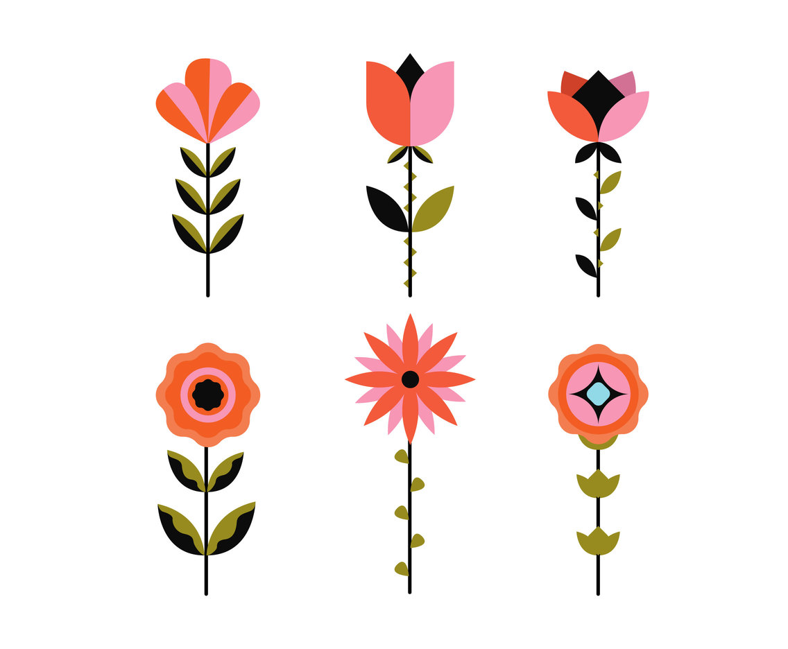 Geometric Flowers Clipart Vector