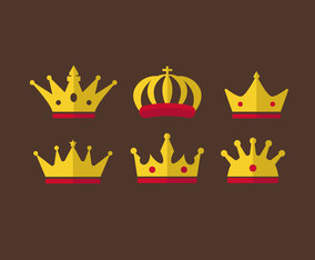 Flat Crowns Clipart Vector