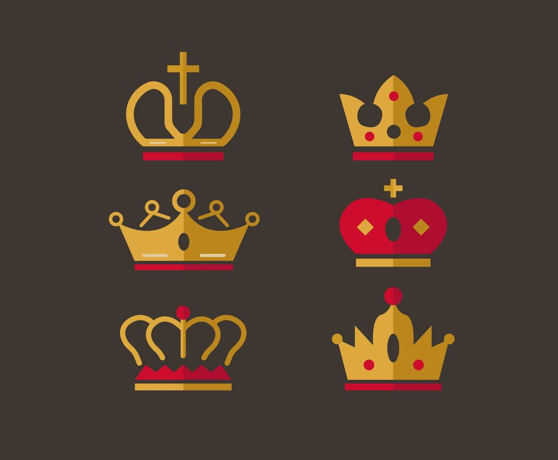 Flat Crowns Design Vector