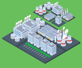 Set of Isometric Industrial Buildings on Map