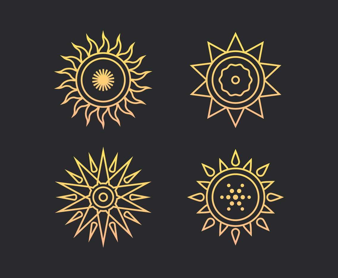 Unique Sun Element Set Vector