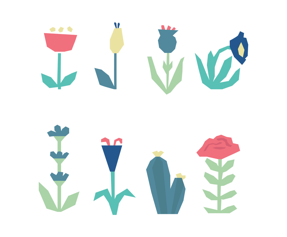 Abstract Set Of Clipart Flowers