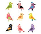 Colorful Set Of Flat Birds