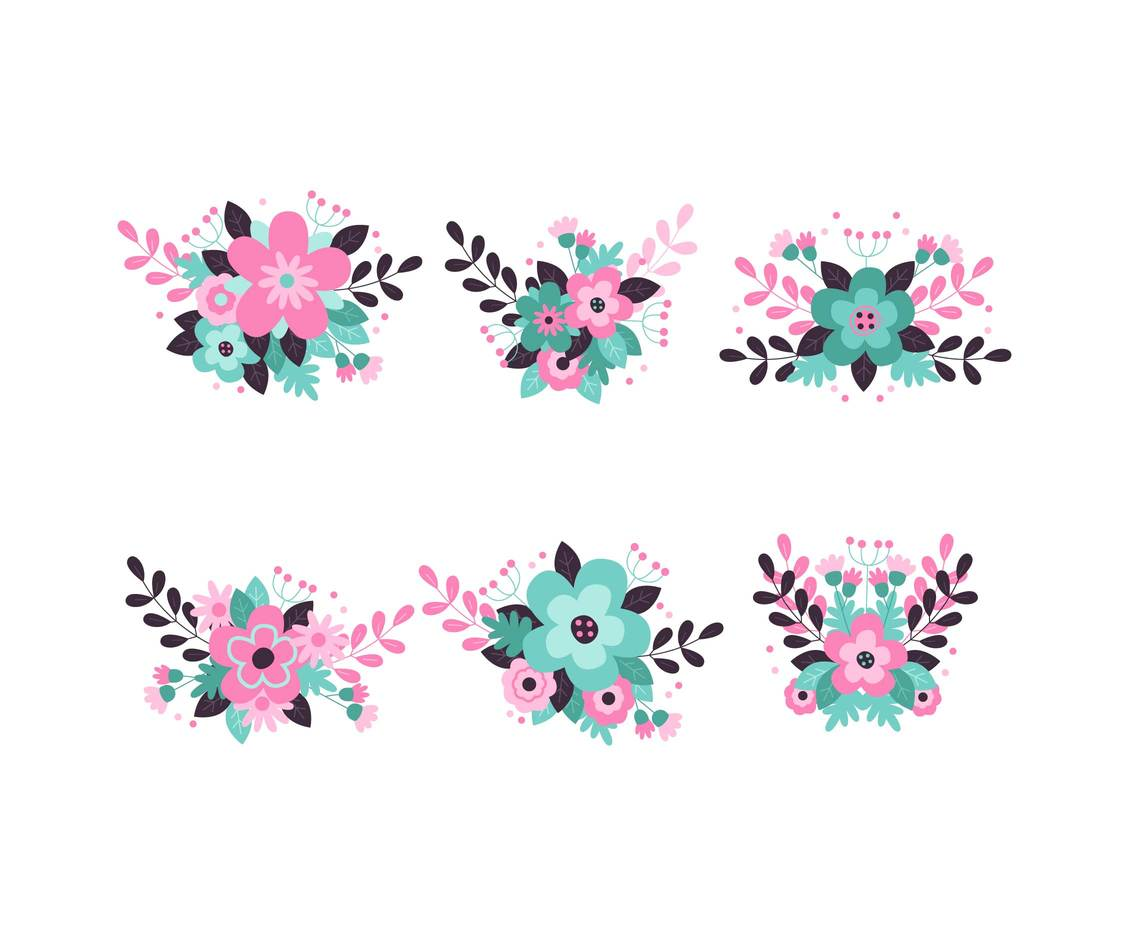 Pastel Flowers Clipart Vector