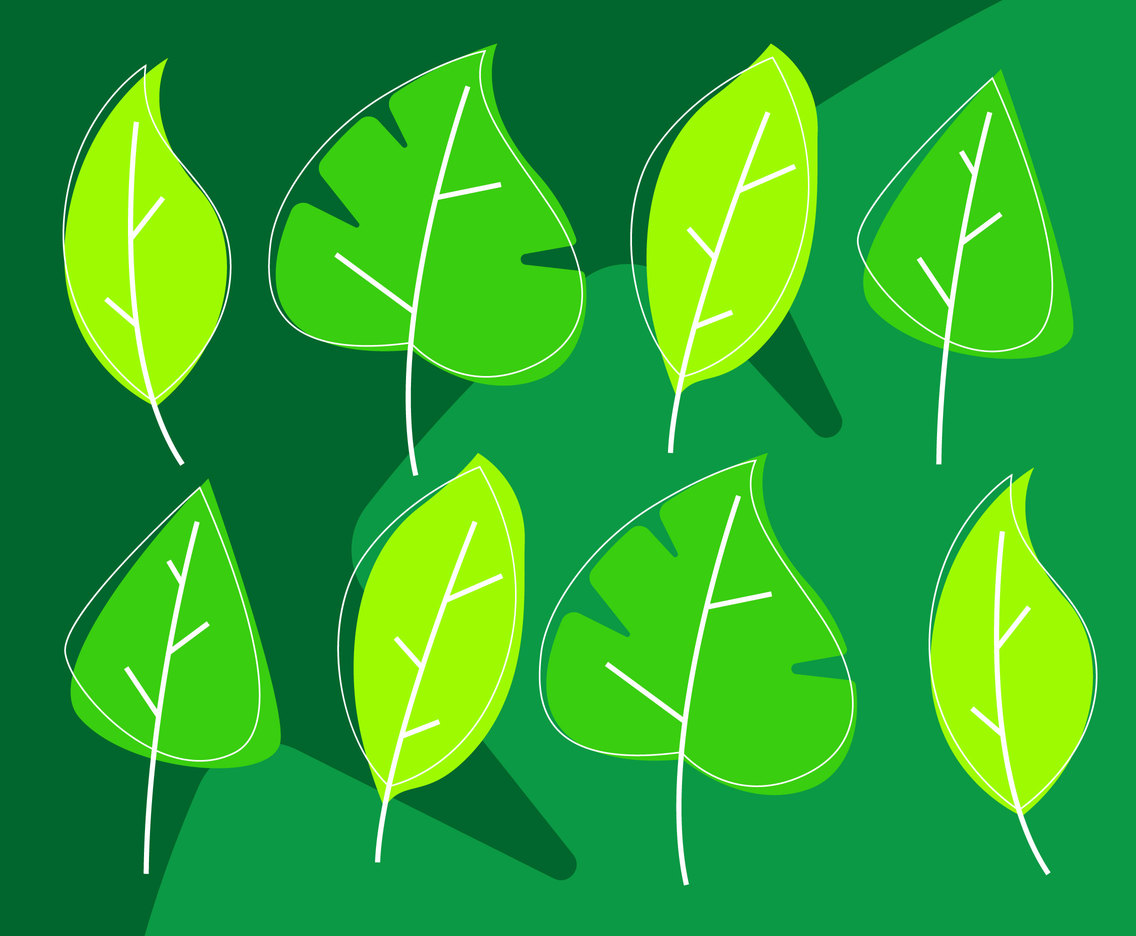 Awesome Green Leaves Clipart Set Vectors