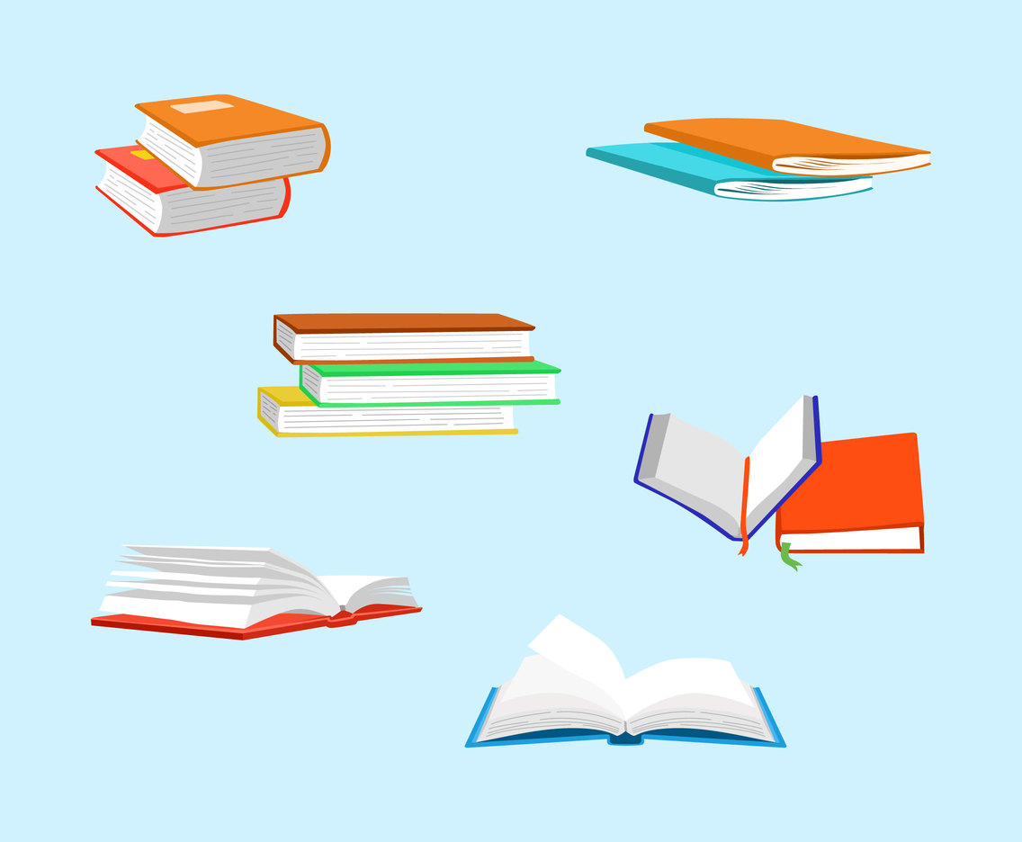 Various Book Clipart Vector
