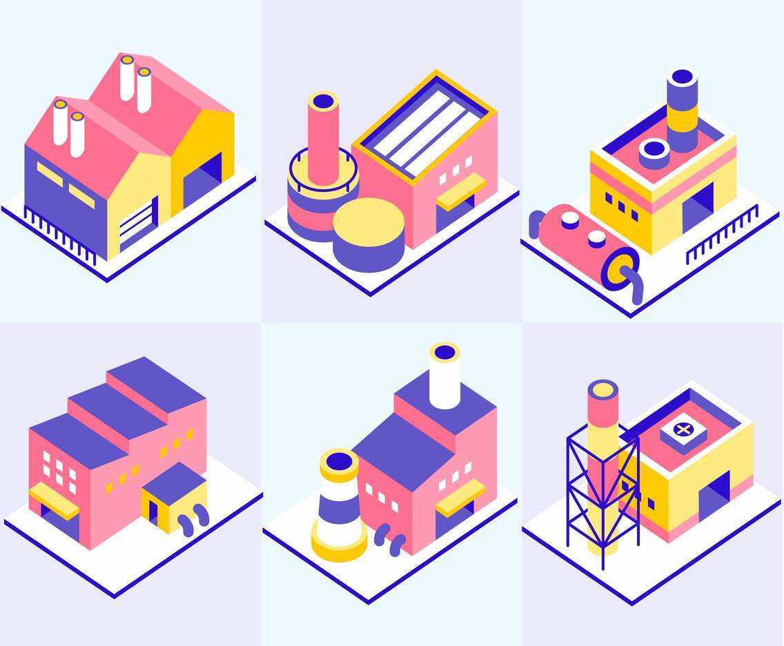 Isometric Factory Illustrations Vector