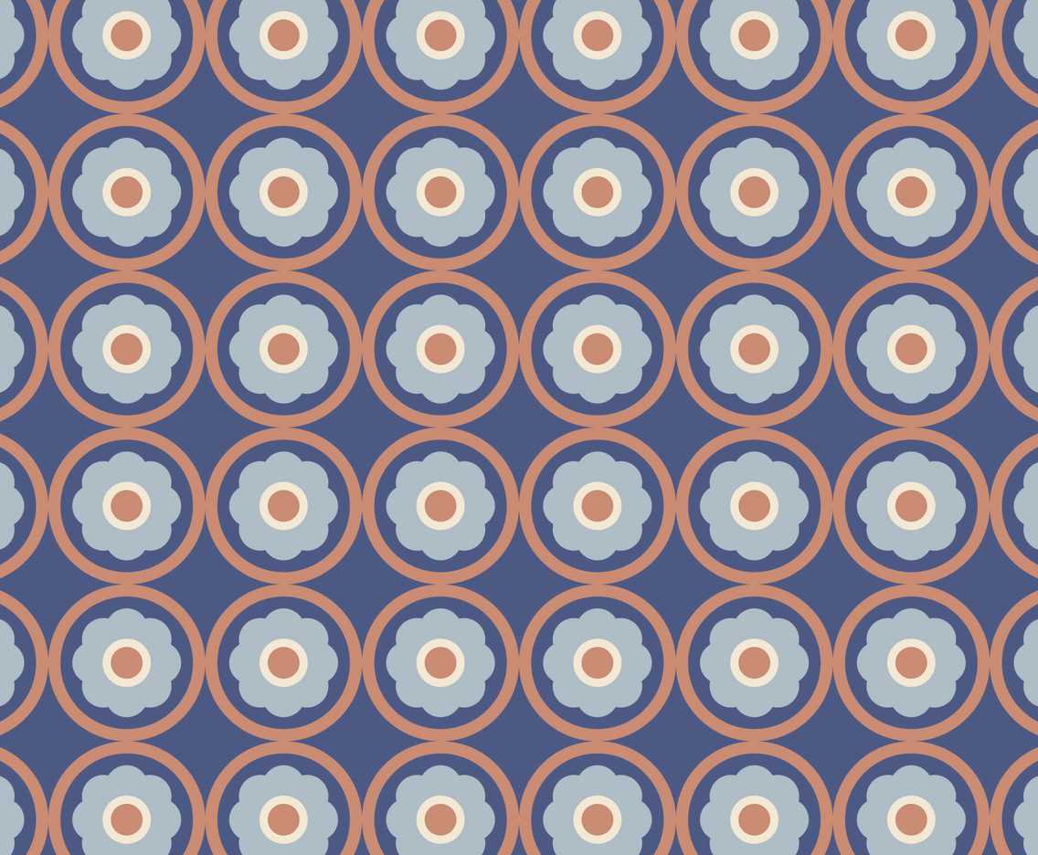 Floral Blue Retro Pattern
