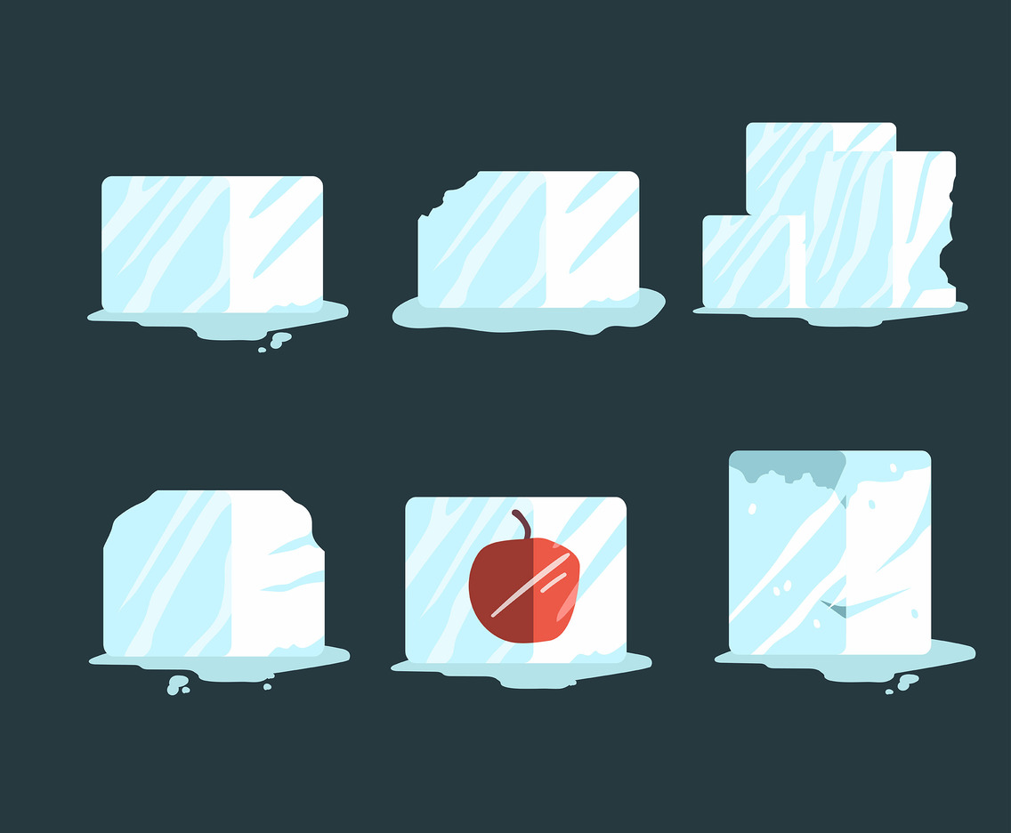 Ice Cube Clipart in Flat Style