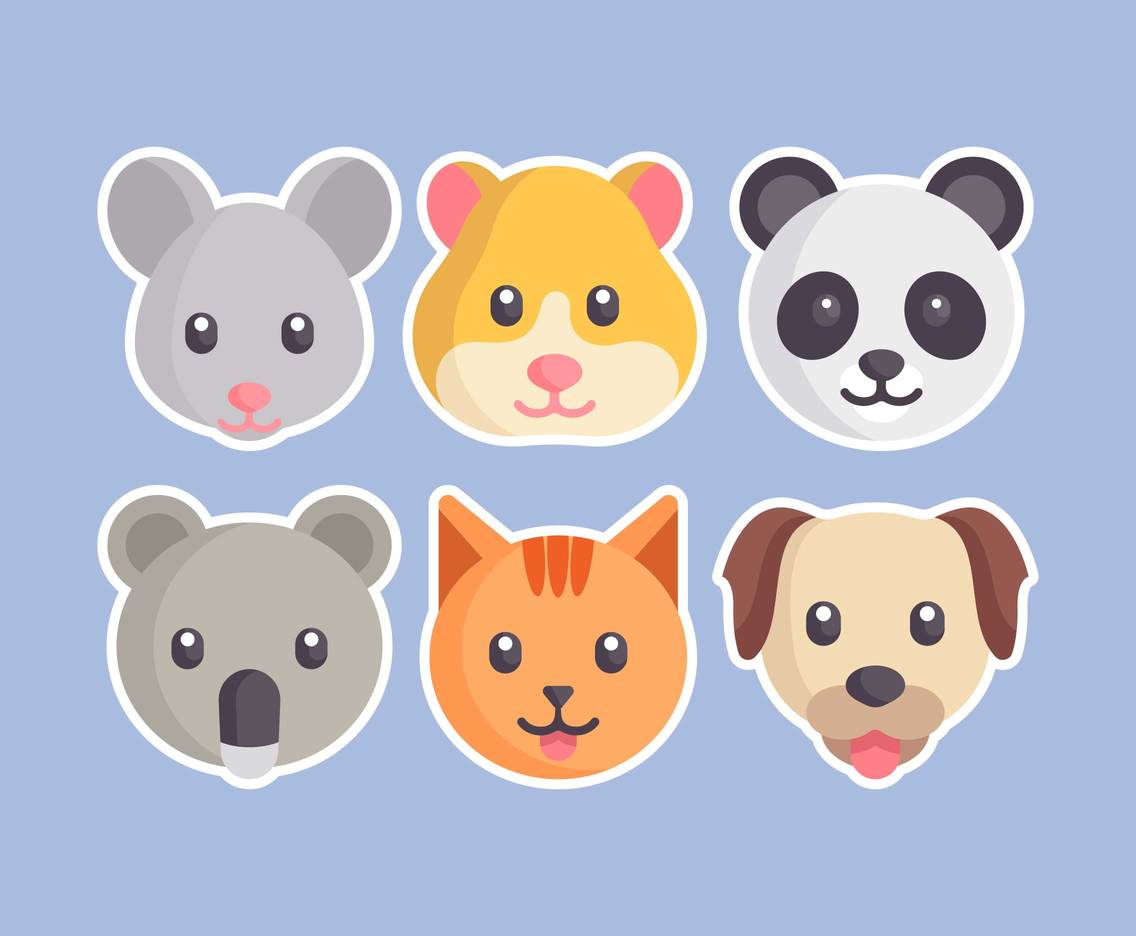 Cute Animal Faces Vector