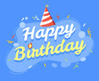 Happy Birthday Typography on Blue Background