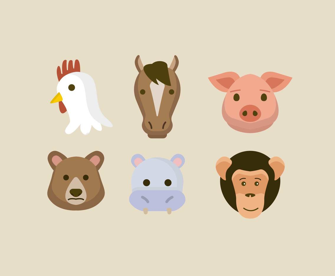 Flat Style Animal Face Vector
