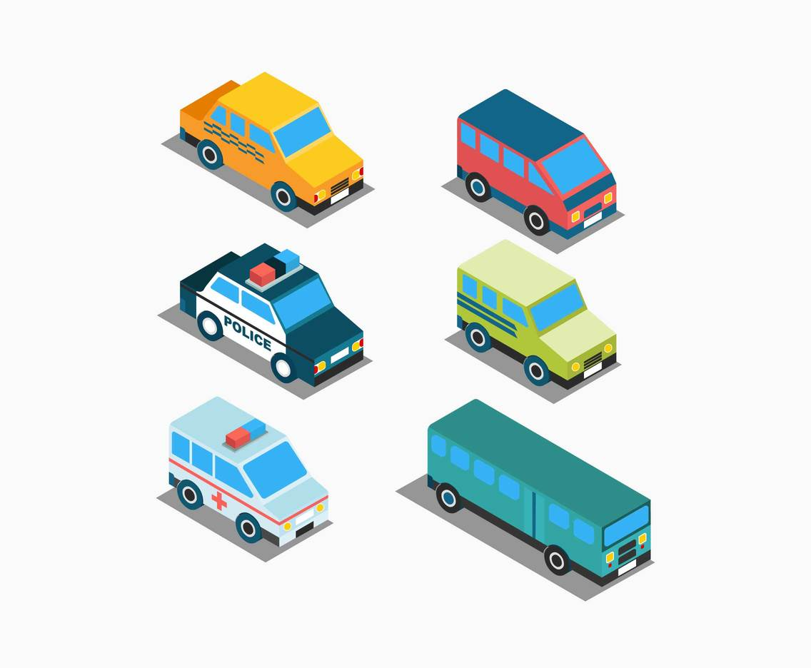 Isometric Vehicles Clipart Vector