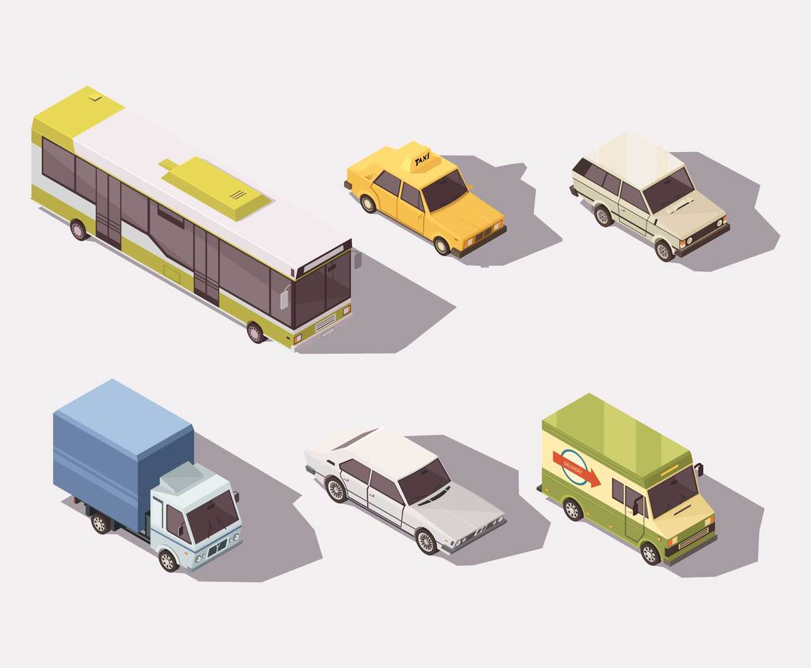 Isometric Top View Transportation Vector