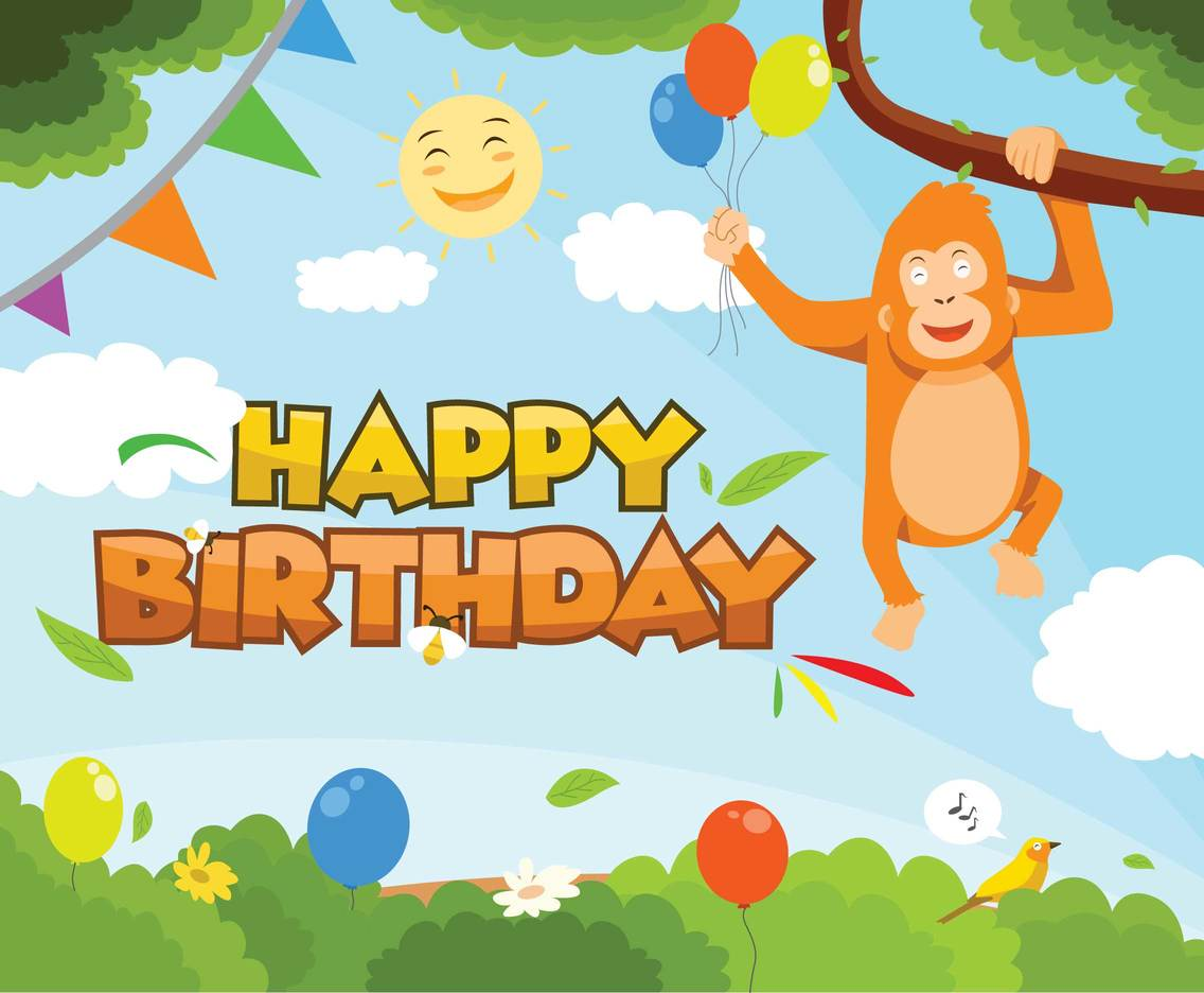 Jungle Theme Happy Birthday Vector