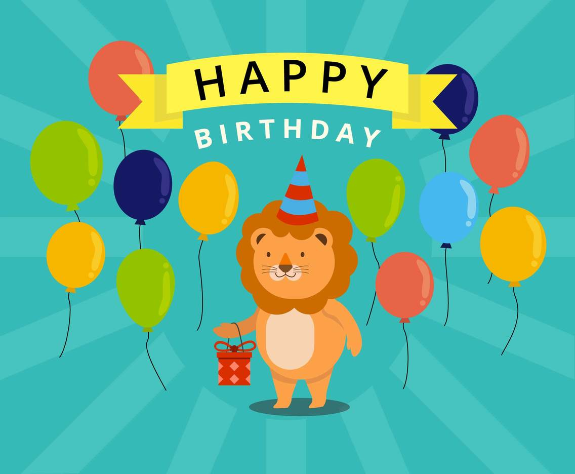 Little Lion Birthday Vector