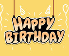 Happy Birthday Typography in Light Yellow Background