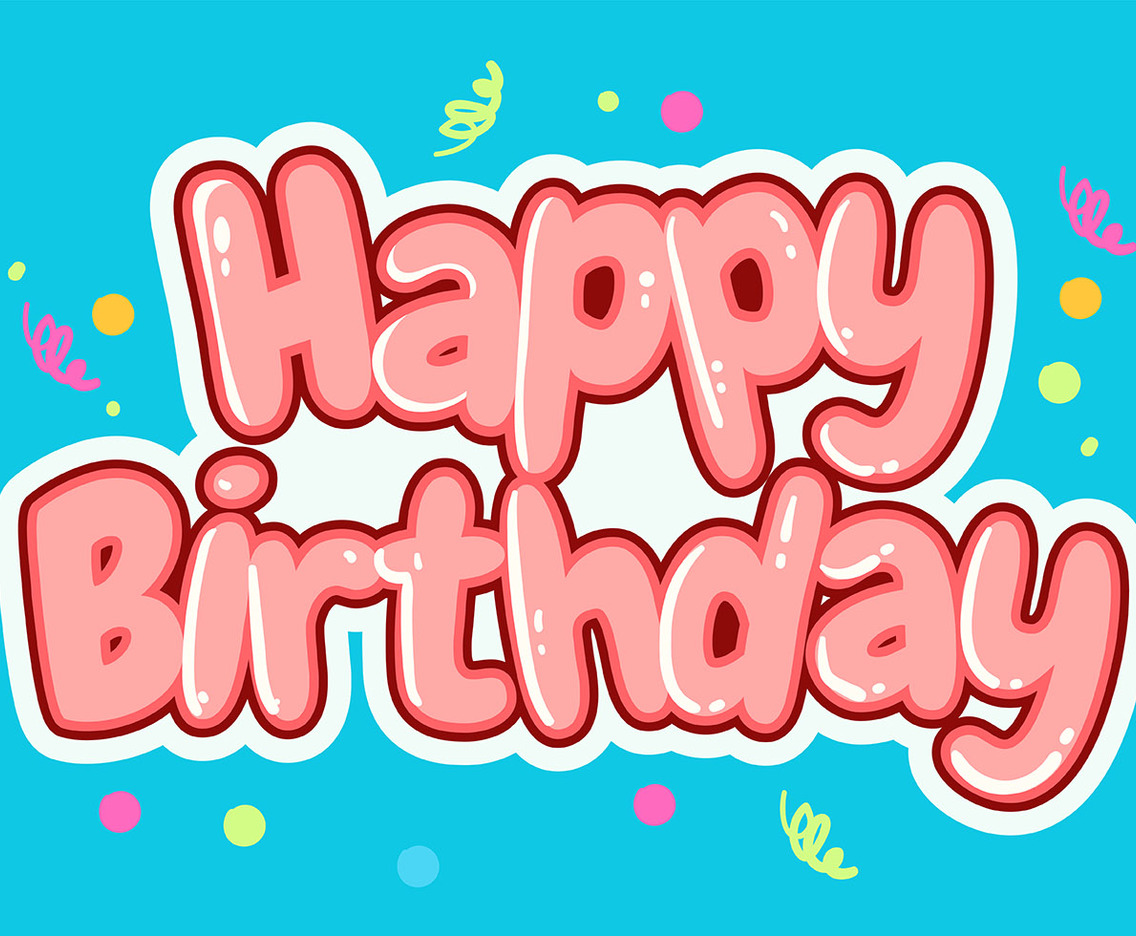 Happy Birthday Typography in Cheerful Blue Background