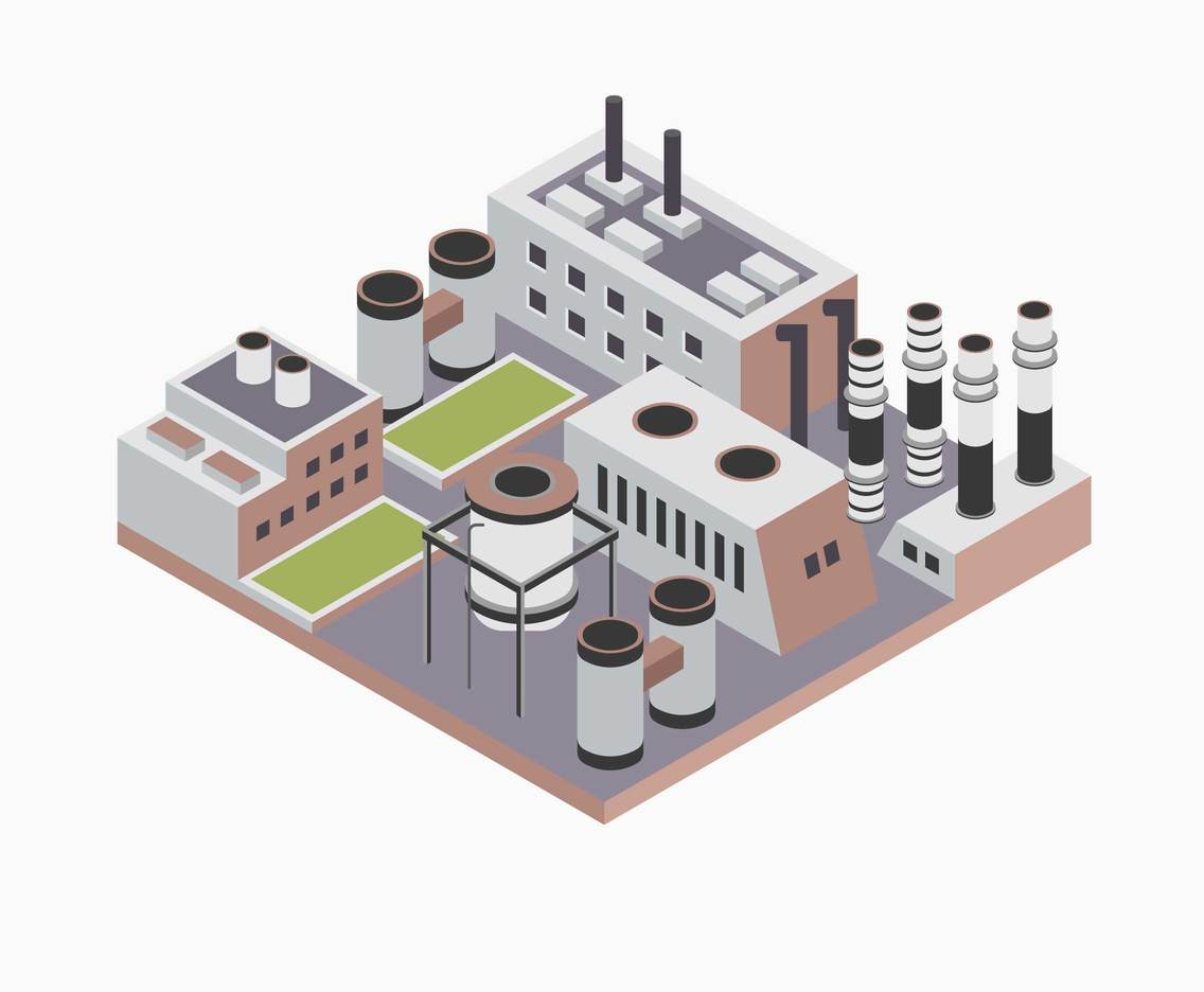 Industrial Buildings Block Vector