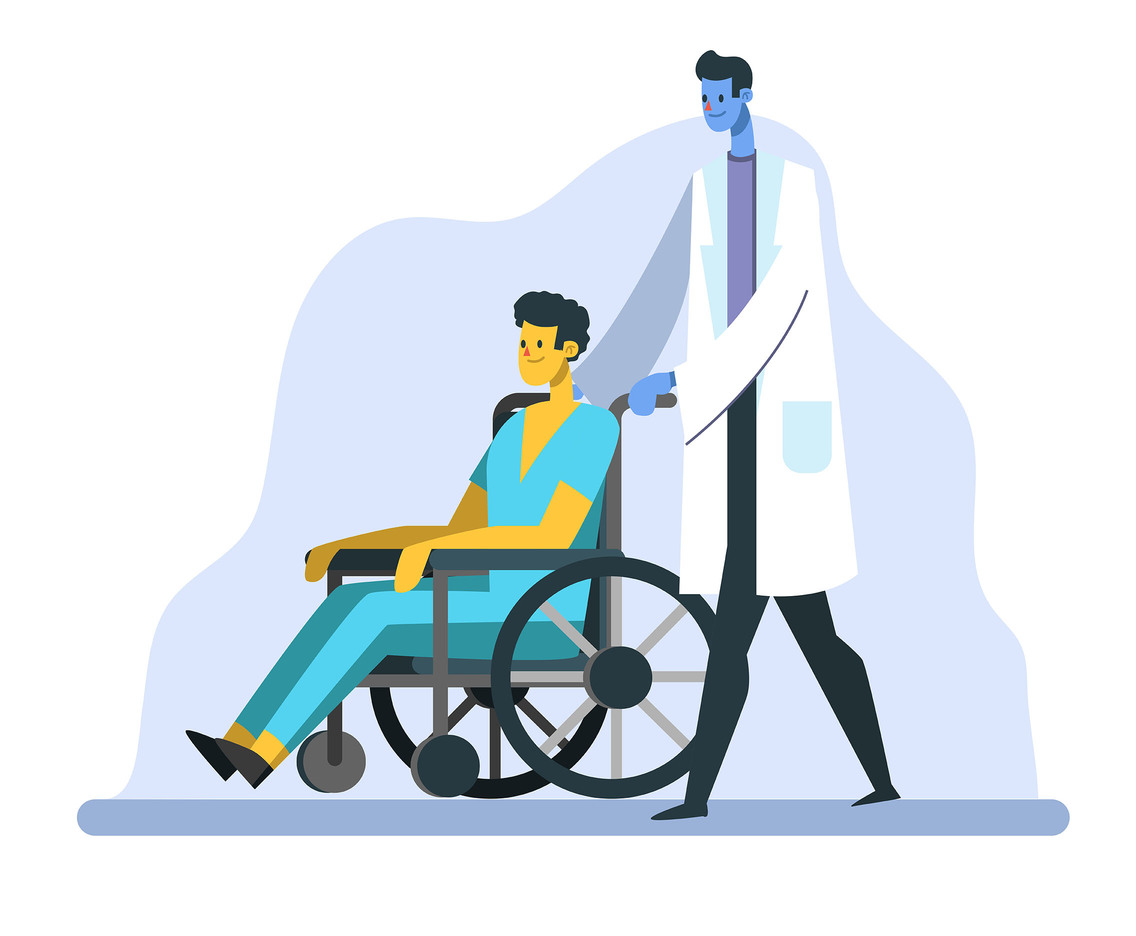 Healthcare Character with Doctor and Patient in Wheelchair
