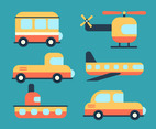 Orange Transportation Clipart Set