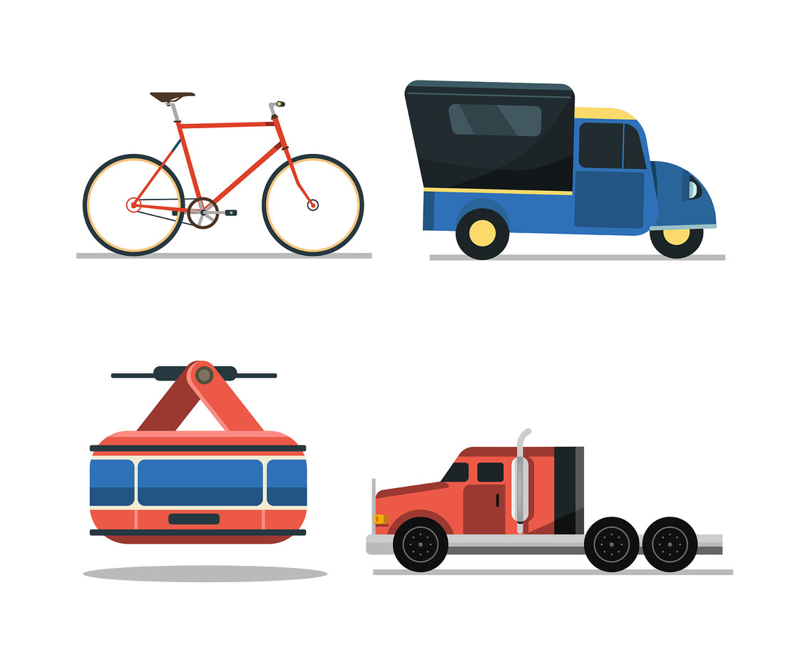 Transportation Clipart Set in White Background