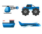 Blue Transportation Clipart Set