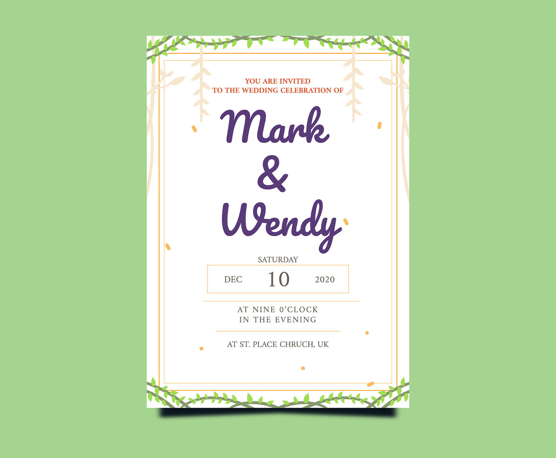 Wedding Invitation Card on Green Background