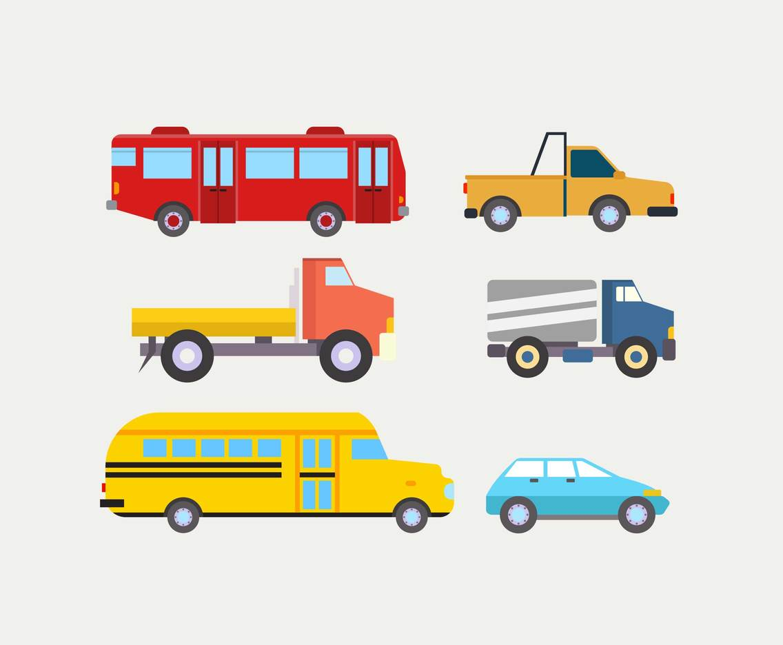 Various Vehicles Clipart Vector