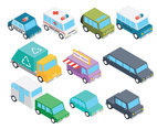 Isometric transportation clip art set