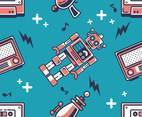 Robot Retro Pattern Vector