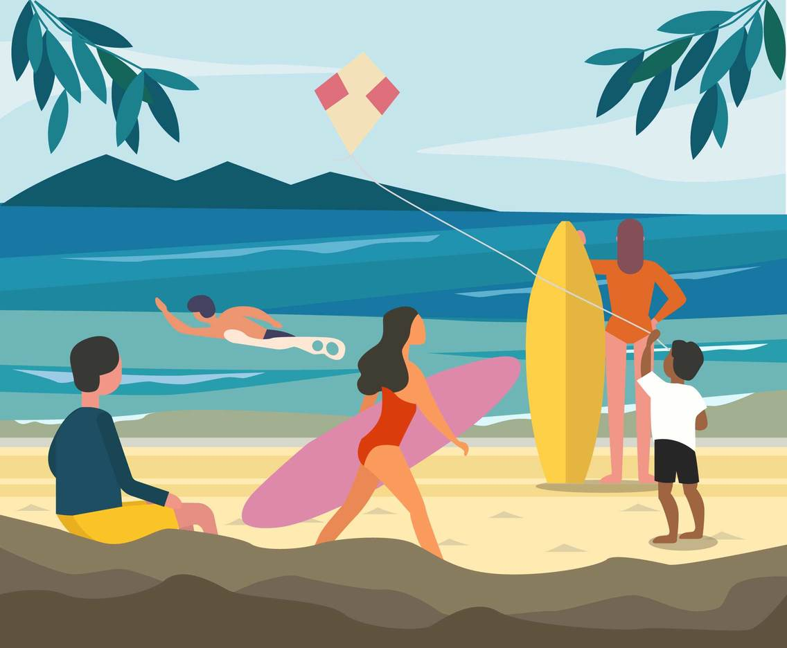 People Enjoy Summer Time Vector