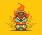 Tiki Tribal Mask on Yellow Background