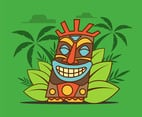 Tiki Tribal Mask on Green Background