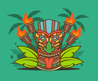 Tiki Tribal Mask and Torches