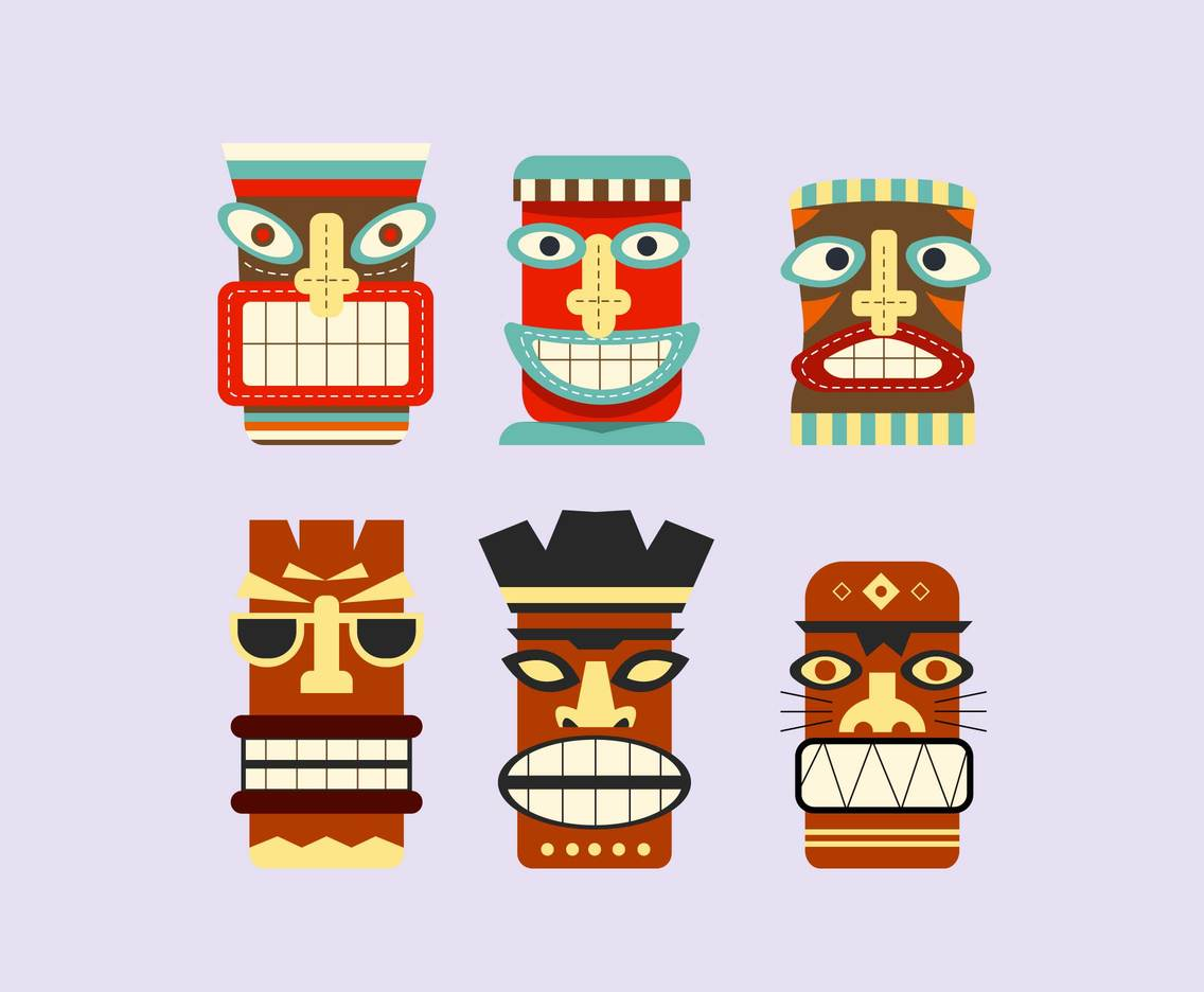 Fun Tiki Tribal Masks Vector