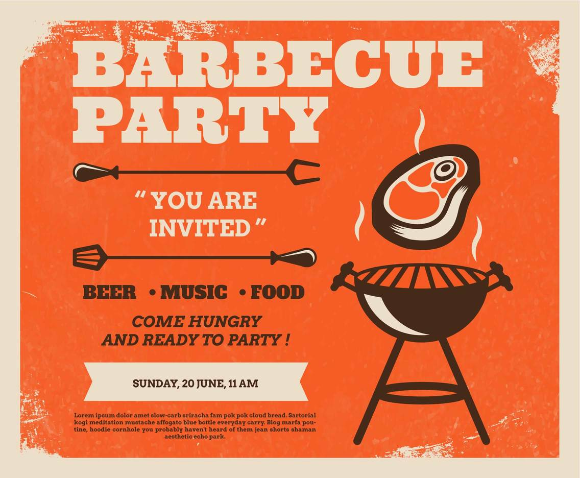 BBQ Party Retro Poster Vector