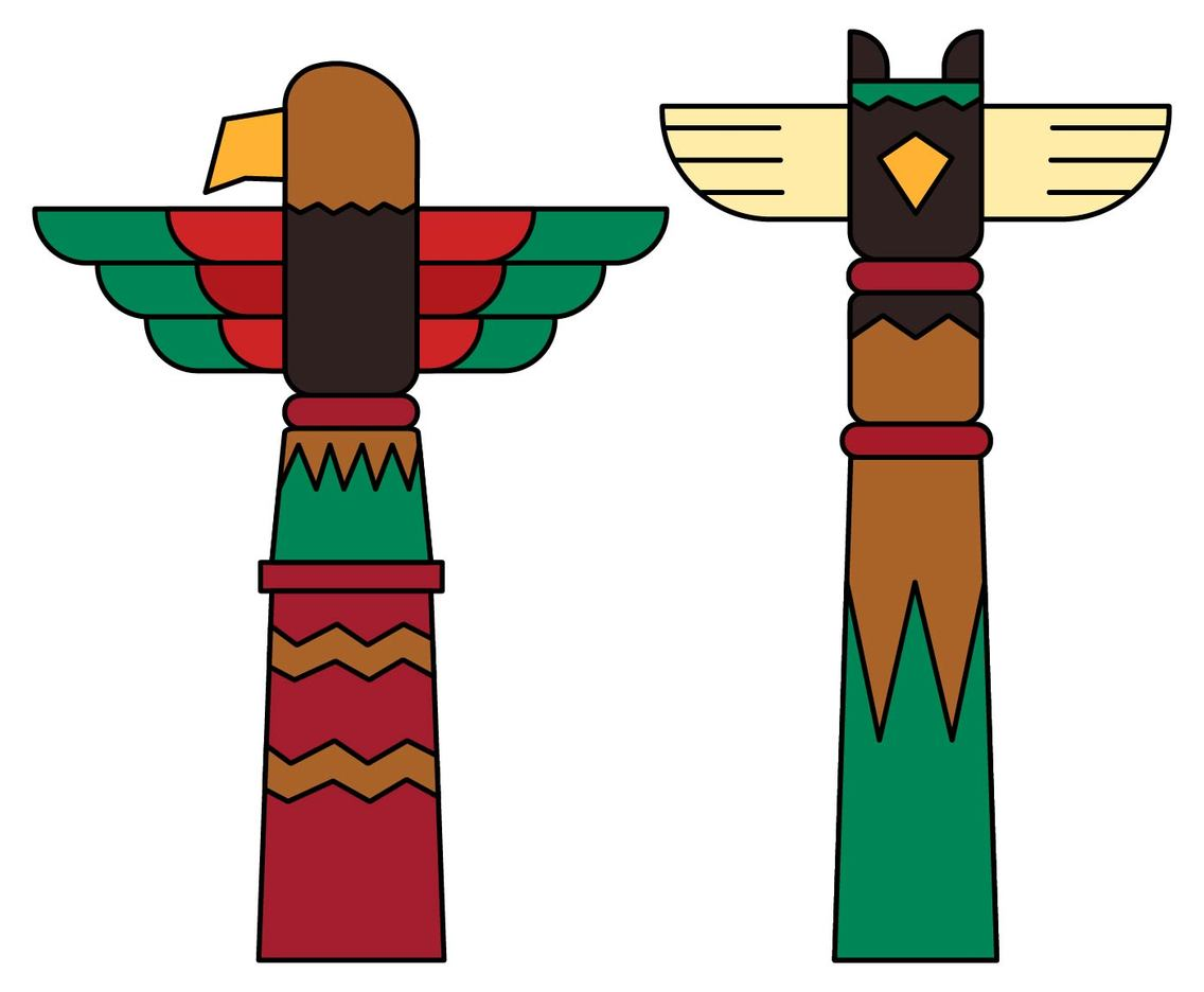 Totem Pole Clip Art Set