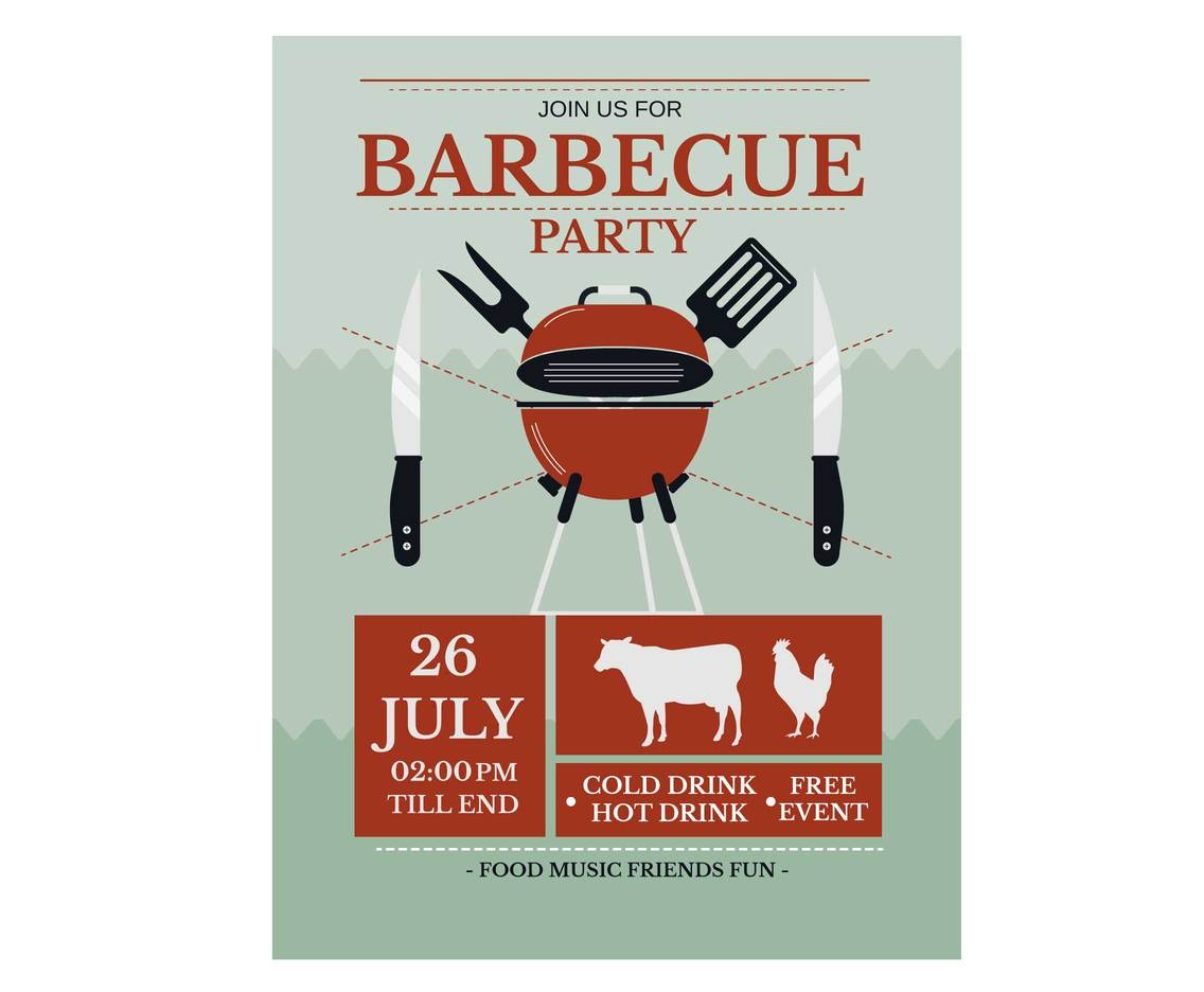 Bbq Party Invitation Template Vector Vector Art & Graphics