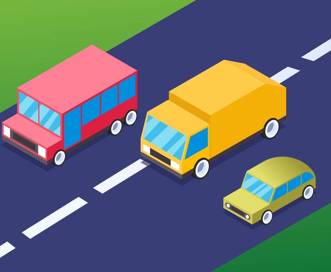 Outstanding Isometric Transportation Clip Art Set