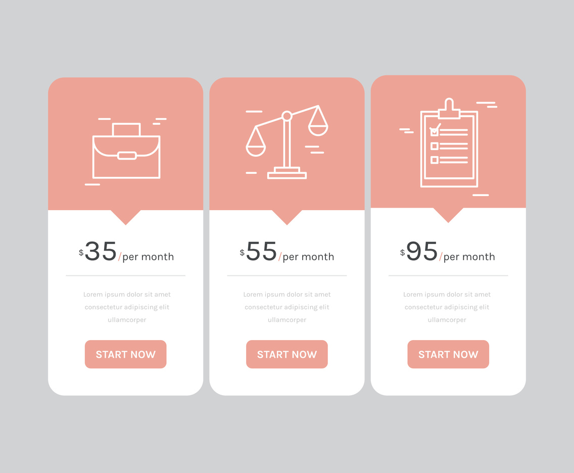 Pricing Table with Outlined Icons