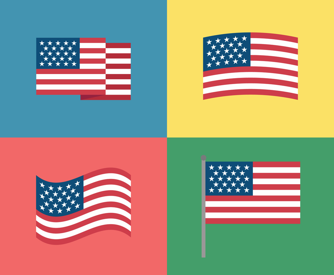 Colorful American Flag Set