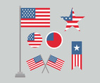 Flat American Flags Set