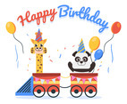 Happy Birthday Animal Giraffe and Panda