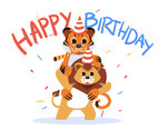 Happy Birthday Animal Tiger and Lion