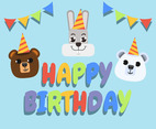 Happy Birthday Animal Bear Rabbit and Koala