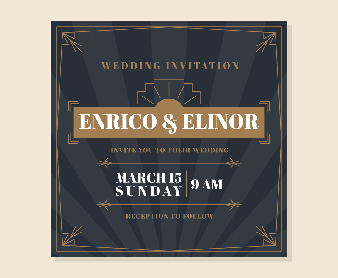 Cute Wedding Invitation Card Vector