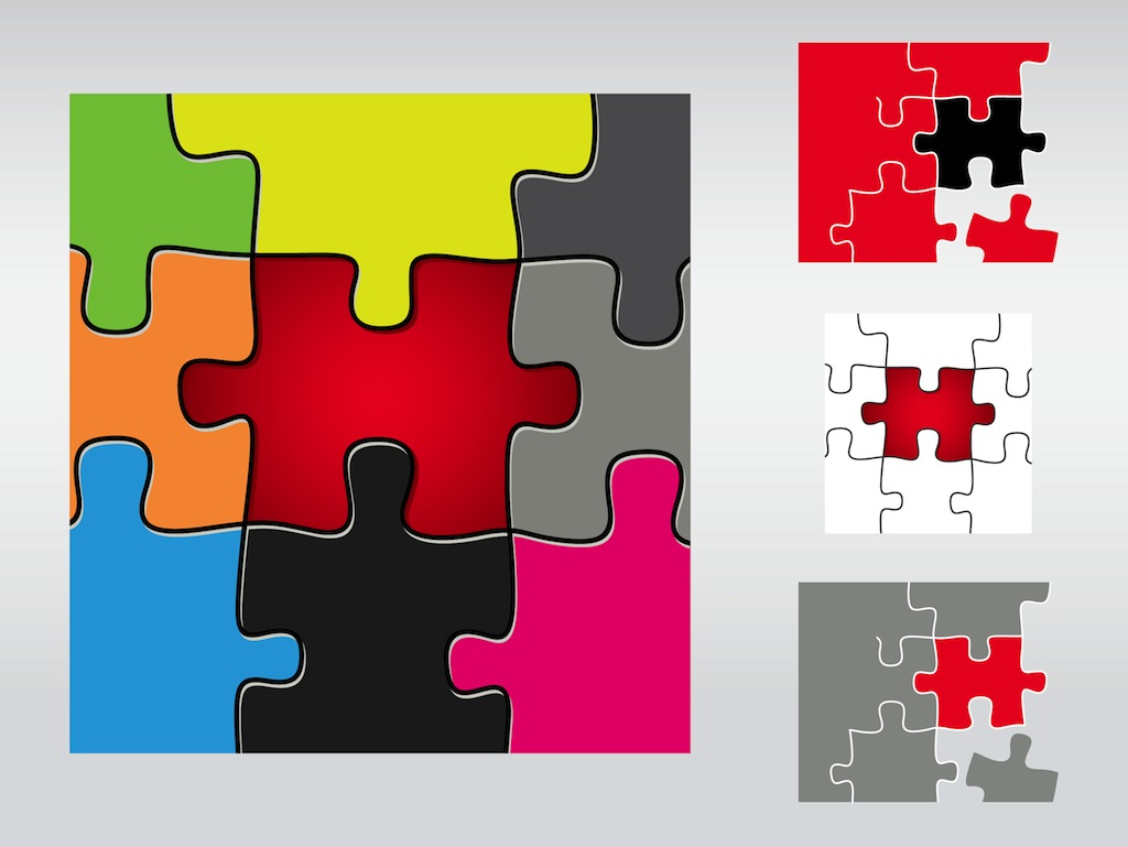 Puzzle Pieces Vector Art Graphics