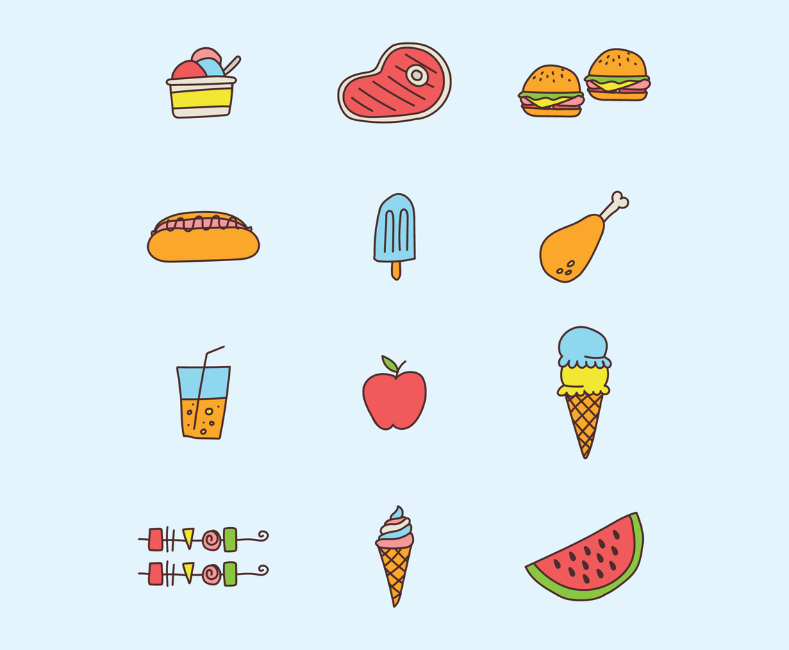 Doodled Summer Food Icons